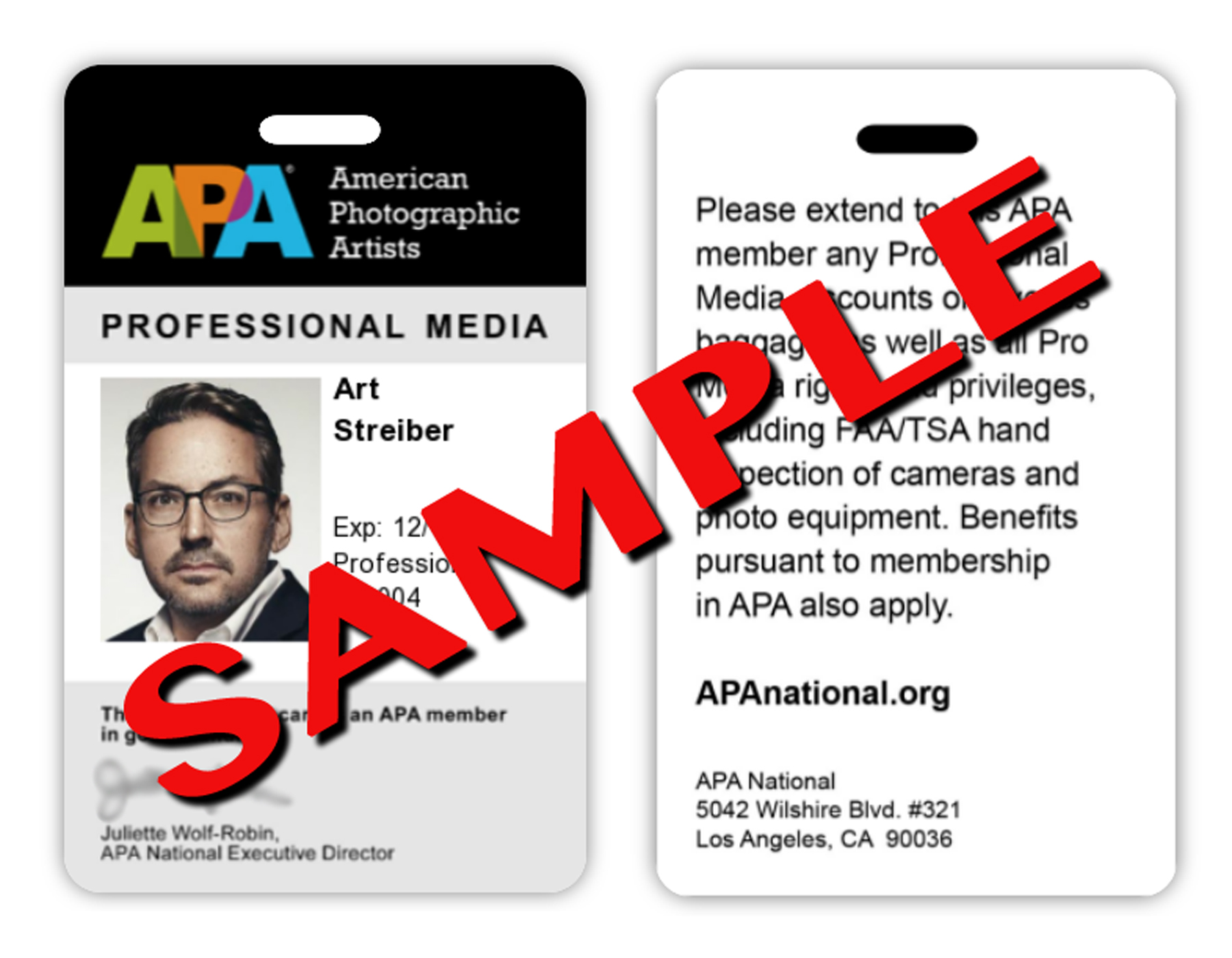 APA Member Pro Media Photo ID Card